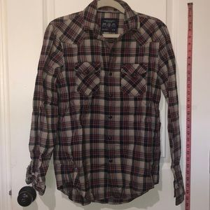 AEO Red/Gray/Blue Plaid BUTTON DOWN